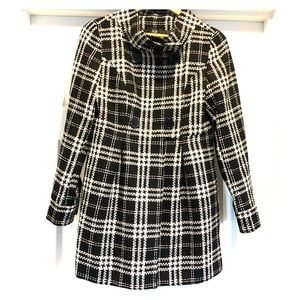 AGB Women's Black/White/Metallic Plaid Coat Size S